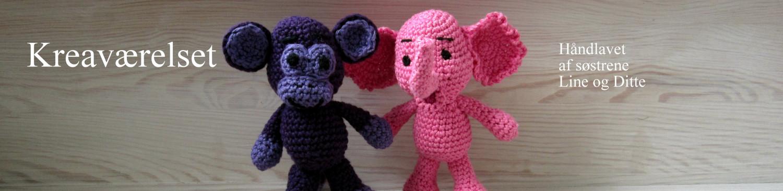 Kreaværelset logo af hæklet abe og elefant